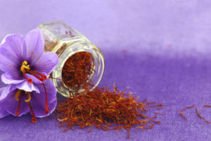Dried saffron spice and flower